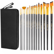 Art Paint Brush Set, UnityStar 15 PCS LONG HANDLE Artist Brushes with Carrying Case & Pop-up Stand for Acrylic Watercolour Oil Paint Face Painting