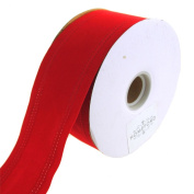 Homeford Waterproof Velvet Dual Wired Christmas Holiday Ribbon, Red, 6.4cm , 25 Yards