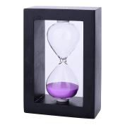 30 Minutes Wood Exquisite Sand Timer Colourful Sandglass Hourglass Sand Clock Timer for Game Decoration Kitchen Office Purple with Black 1 Pcs