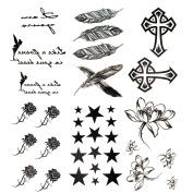 Antop Black Feather Rose Flower Star Cross Waterproof Temporary Tattoos 6 Sheets