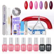 Perfect Summer 31pcs Shellac UV Led Mood Changing 8ml 6 Colours Salon Gel Polish + Base Primer + Top Coat + LED Lamp Nails Art Decoration Tools Gift Sets #05