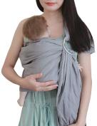 Vlokup Baby Ring Sling Wrap Carrier for Newborn Infant Toddlers Linen & Cotton Adjustable Ergonomically Designed Child Carrier Grey