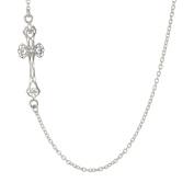 Metro Jewellery Stainless Steel 60cm Side Cross Pendant Necklace