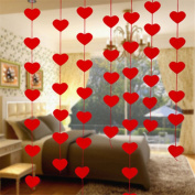 Yesido. Red Love Heart Shape Curtain Valentine Hearts Ornaments Charm For Home Wedding Party Valentine Decor