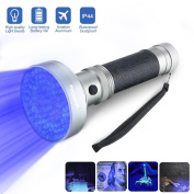 UV Flashlight Black Light, Focuspet 100 LED Handheld Pet Dog Cat Pee Urine Stains Detector Torch Light, Bed Bugs and Scorpion Detector-Finds Stains on Carpet Floor or Rugs,Mould & Leak.6xAA batteries