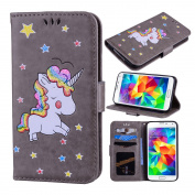 Galaxy S5 Case, Ranyi [3D Glitter Unicorn Embossed] [Flip Magnetic Wallet] [3 Card Slot] Cute Bling PU Leather Folio Wallet Case with Stand for Samsung Galaxy S5 I9600 (2014 Release), grey