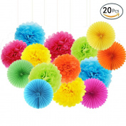 APLANET Set of 20 Rainbow Colour Paper Pom Poms and Paper Folding Fans, 5 Colours, for Decorating Party, Shop or Wedding