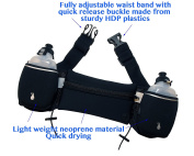 Hydration Running Belt by AMP - Includes 2 Free BPA Water Bottles and Suitable for Men and Women