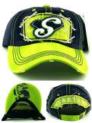 Seattle New Women Ladies Vintage Seahawks Colours Blue Lime Green Era Strapback Hat Cap