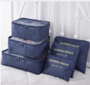 2017 6pcs/set Men and Women Luggage Travel Bags Packing Cubes Organizer Fashion Double Zipper Waterproof Polyester Bag  Dark Blue