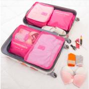 2017 6pcs/set Men and Women Luggage Travel Bags Packing Cubes Organizer Fashion Double Zipper Waterproof Polyester Bag Pink