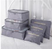 2017 6pcs/set Men and Women Luggage Travel Bags Packing Cubes Organizer Fashion Double Zipper Waterproof Polyester Bag Grey