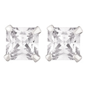 Sterling Silver CZ Square Earrings