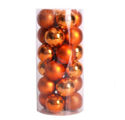 """D-XinXin 24ct Christmas Ball Ornaments Shatterproof Christmas Decorations Tree Balls Small for Holiday Wedding Party Decoration, Tree Ornaments Hooks included 1.57"""""""