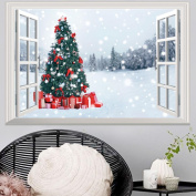 Highpot 3D Fake Windows Wall Stickers Removable Faux Windows Wall Decal Christmas Wall Sticker