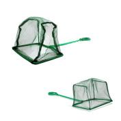 Pawfly Aquarium Fish Net Nylon Fishing Nets with Plastic Handle for Fish Tank, Green