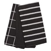 Living & Co Tea Towel Mixed Waffle Y/Dye Black/White 3 Pack
