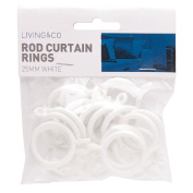 Living & Co Cafe Rod Curtain Rings White 20mm 20 Pack
