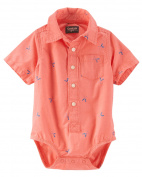 OshKosh B'gosh Baby Boys' Printed Schiffli Button-Front Bodsuit, 12 Months