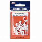 Handipak Flat T & E Cable Clips 2.5mm 12 Pack White