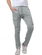 Unique Bargains Men's Big Pockets Elastic Waist Splice Harem Slim Casual Pants Light Grey