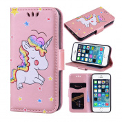 iPhone SE Case, iPhone 5S Case, iPhone 5 Case, Ranyi [3D Glitter Unicorn Embossed] [Flip Magnetic Wallet] [3 Card Slot] Cute Bling PU Leather Folio Wallet Case for Apple iPhone 5/5S/SE