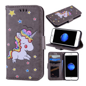 iPhone 7 Case, iPhone 8 Case, Ranyi [3D Glitter Unicorn Embossed] [Flip Magnetic Wallet] [3 Card Slot] Cute Bling PU Leather Folio Wallet Case for Apple iPhone 7 (2016) / iPhone 8 (2017), grey