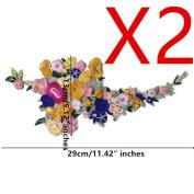 1set Multicolour Flowers Embroidery Lace Fabric Patches DIY Clothes Decorative Accessories Lace Trim Motifs Applique T1830-2