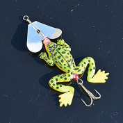 Arpoador 2X Fishing Lure Hook Bait Soft Silicone Artificial Green Frog Paillette Rotation