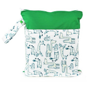 Hi Sprout Grab and Go Waterproof Washable Reusable Nappy Wet Dry Cloth Nappy Bags,Animal Land