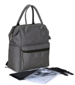 LCY Multi-function Unisex Baby Nappy Changing Bag Backpack with Changing Mat, Stroller Straps and Wet Bag -Grey