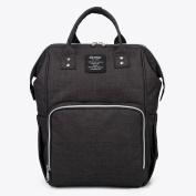 YuHan Oxford Baby Nappy Bag Nappy Backpack Change Pad Insulation Pocket Nappy Handbag Black
