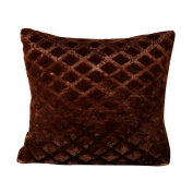 Hoomall Lattice Sofa Squares Cushion Case Throw Pillow Cover without Core 46cm x 46cm Brown