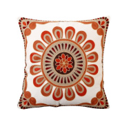 Hoomall Sofa Squares Cushion Case Throw Pillow Cover without Core 46cm x 46cm Red Flower