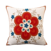 Hoomall Sofa Squares Cushion Case Throw Pillow Cover without Core 46cm x 46cm Red Sun Flower