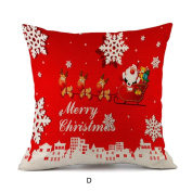 Xmas Deer Snowflower Pillow Case , YOYOUG Happy Christmas Pillow Cases Linen Sofa Cushion Cover Home Decor Pillow Case