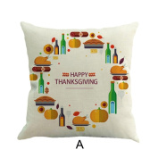 Thanksgiving Flower Printed Pillow Case, YOYOUG Happy Thanksgiving Pillow Cases Linen Sofa Cushion Cover Home Decor Pillow Case