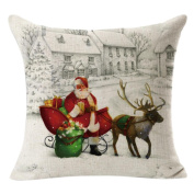 Christmas Pillow Case Hot ,YOYOUG Christmas Linen Square Throw Flax Pillow Case Decorative Cushion Pillow Cover
