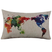 Buweiser Linen Square Throw Flax Pillowcase Decorative Cushion Pillow Cover With World Map 30 x 50cm