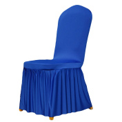 good01 Pleated Stretch Full Dining Chair Cover Hotel Restaurant Wedding Decor