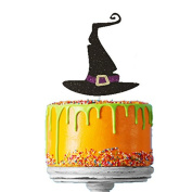 Witches Hat Cake Topper - Pack of 1 - Glittery Black Halloween Cake Topper