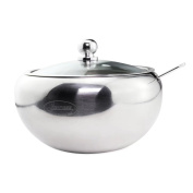 Sugar Bowl, Newness Stainless Steel Sugar Bowl with Clear Lid(for better recognition) and Sugar Spoon for Home and Kitchen, Drum Shape, 440 ML