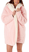 i-Smalls Women's Soft and Cosy Hooded Reversible Snuggle Robe in Fluffy Sherpa Fleece (One Size) Pink/Ivory