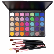 35 Colour Makeup Eyeshadow Palette, Lover Bar 6pcs Make Up Brushes Set Sleek High Pigment Warm Red Nude Nature Smoky Shimmer Matte Glitter Eye Shadows Pallet Waterproof Pressed Powder Beauty Cosmetics