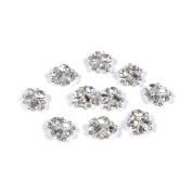 So Beauty 10pcs 3D Glitter Silver Nail Art with Rhinestone Diamond DIY Nail Decorations