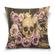 ALAZA Throw Pillow Case Decorative Cushion Cover Square Pillowcase, Rose Flower Sugar Skull Day of the Dead Sofa Bed Pillow Case Cover(46cm x 46cm ) Twin Sides