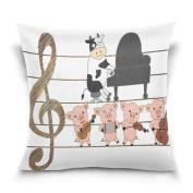 ALAZA Throw Pillow Case Decorative Cushion Cover Square Pillowcase, Cute Pig Piggy Cow Piano Violin Guitar Music Sofa Bed Pillow Case Cover(41cm x 41cm ) Twin Sides