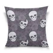 ALAZA Throw Pillow Case Decorative Cushion Cover Square Pillowcase, Floral Print Sugar Skull Dia De Los Muertos Sofa Bed Pillow Case Cover(41cm x 41cm ) Twin Sides