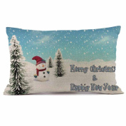 Rectangle Pillow Cases,Muxika New Fashion Cute Christmas Sofa Bed Home Decoration Festival Pillow Case Cushion Cover Rectangle 12 x 18 Inches 30cmX50cm