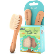 Baby Goat Hair Brush and Comb Set for Newborns & Toddlers   Eco-Friendly Safe Brush   Natural Wooden Comb   Soft Bristles for Cradle Cap